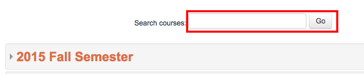 Search box on All Courses page