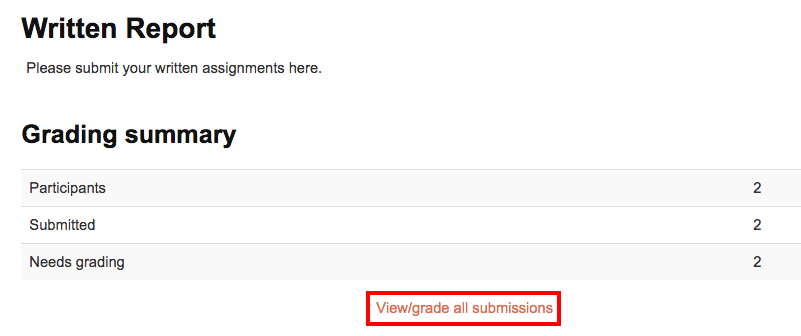 Assignment view/grade all submissions link