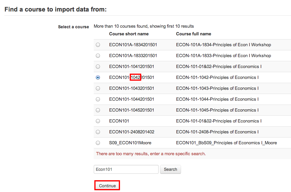 Import data course selection page