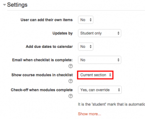 Checklist Settings: show course modules