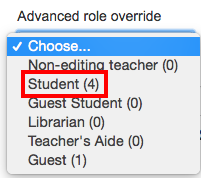 Advanced role override drop down menu