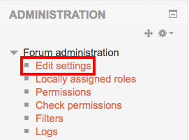 Forum administration edit settings link