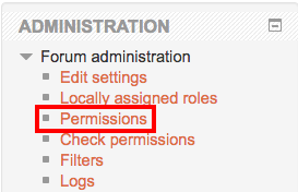 Moodle forum permissions link