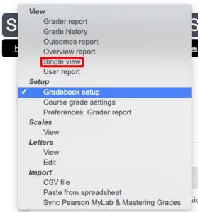 Selecting Single View from the dropdown menu