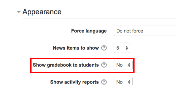 Moodle28 Show/Hide Gradebook Toggle