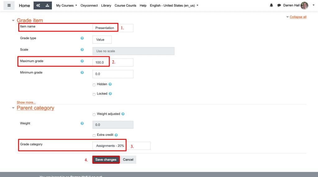 Manual grade item settings page