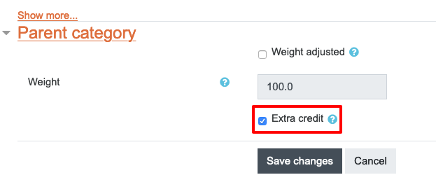 Extra credit tick box