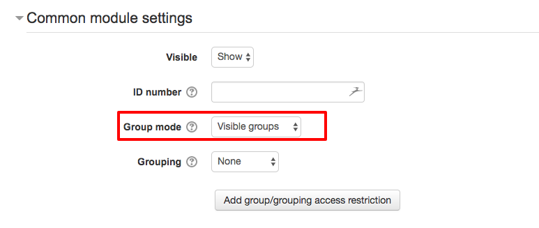 Setting Group Mode for a Moodle Assignment