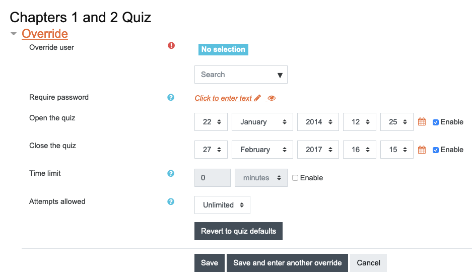 Moodle quiz override settings page