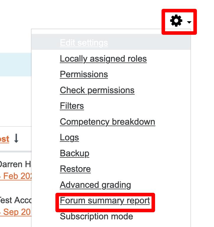 Forum summary report link