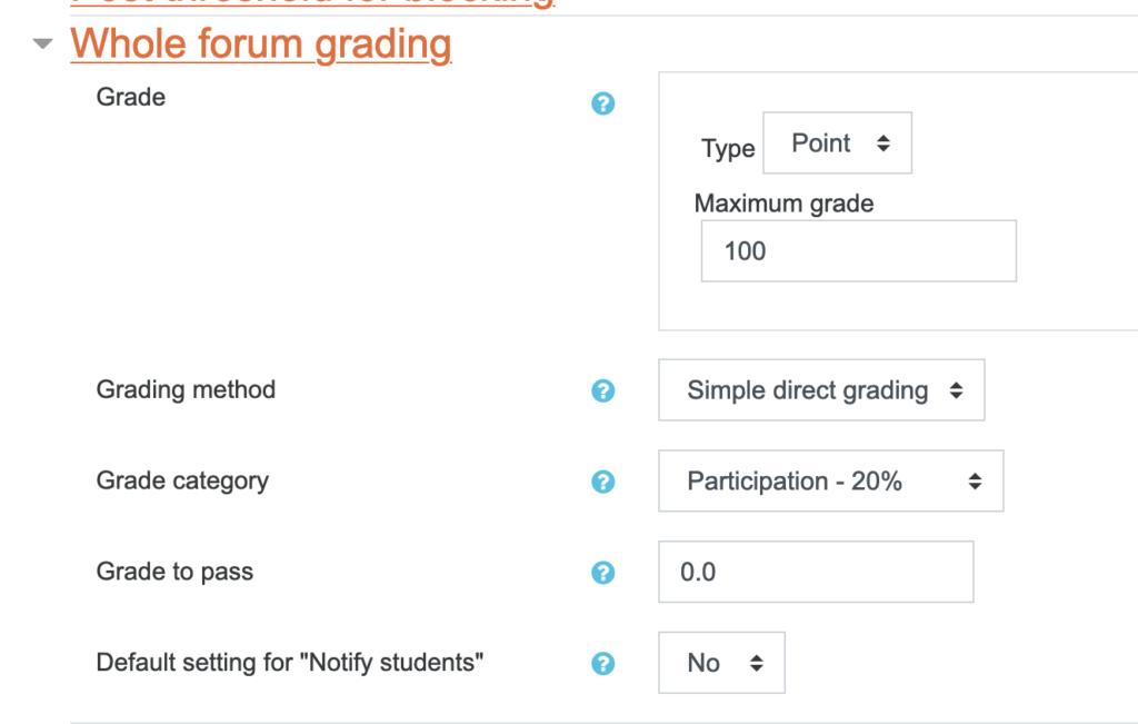 Whole Forum Grading settings.